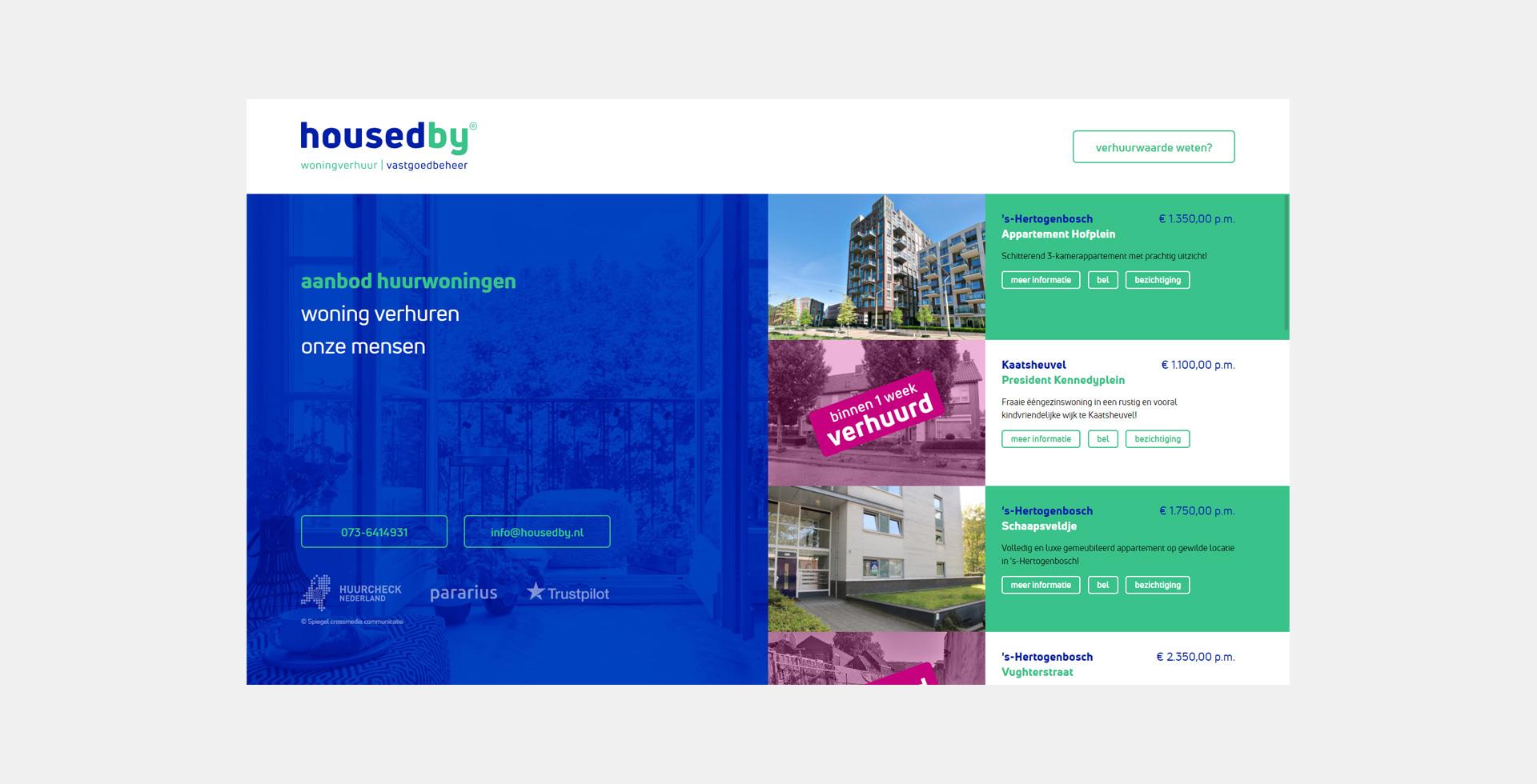 Website HousedBy - Spiegel crossmedia communicatie